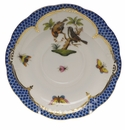 "Herend Rothschild Bird Blue Border Tea Saucer - Motif 12 6""D"