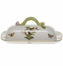 "Herend Rothschild Bird Butter Dish With Branch  8.5""L"