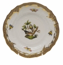 Herend Rothschild Bird Chocolate Brown Border Bread & Butter Plate - Motif 02 6