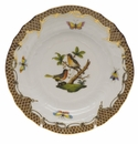 Herend Rothschild Bird Chocolate Brown Border Bread & Butter Plate - Motif 08 6