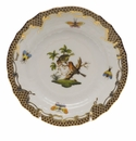 Herend Rothschild Bird Chocolate Brown Border Bread & Butter Plate - Motif 10 6