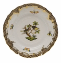 Herend Rothschild Bird Chocolate Brown Border Bread & Butter Plate - Motif 11 6