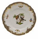 Herend Rothschild Bird Chocolate Brown Border Bread & Butter Plate - Motif 12 6