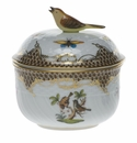 "Herend Rothschild Bird Chocolate Brown Border Covered Sugar With Bird  (6 Oz) 4""H"