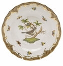 Herend Rothschild Bird Chocolate Brown Border Dessert Plate - Motif 01 8.25""