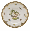 Herend Rothschild Bird Chocolate Brown Border Dessert Plate - Motif 02 8.25""