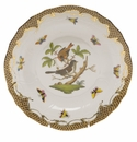 Herend Rothschild Bird Chocolate Brown Border Dessert Plate - Motif 04 8.25""