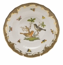 Herend Rothschild Bird Chocolate Brown Border Dessert Plate - Motif 05 8.25""