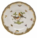 Herend Rothschild Bird Chocolate Brown Border Dessert Plate - Motif 09 8.25""