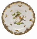 Herend Rothschild Bird Chocolate Brown Border Dessert Plate - Motif 10 8.25""