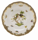 Herend Rothschild Bird Chocolate Brown Border Dessert Plate - Motif 11 8.25""