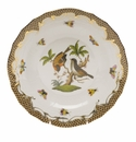Herend Rothschild Bird Chocolate Brown Border Dessert Plate - Motif 12 8.25""