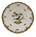 "Herend Rothschild Bird Chocolate Brown Border Dinner Plate - Motif 01 10.5""D"