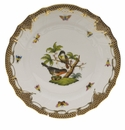 "Herend Rothschild Bird Chocolate Brown Border Dinner Plate - Motif 02 10.5""D"