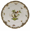 "Herend Rothschild Bird Chocolate Brown Border Dinner Plate - Motif 03 10.5""D"