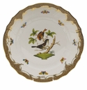 "Herend Rothschild Bird Chocolate Brown Border Dinner Plate - Motif 04 10.5""D"