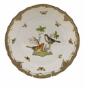 "Herend Rothschild Bird Chocolate Brown Border Dinner Plate - Motif 05 10.5""D"