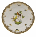 "Herend Rothschild Bird Chocolate Brown Border Dinner Plate - Motif 06 10.5""D"