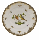 "Herend Rothschild Bird Chocolate Brown Border Dinner Plate - Motif 07 10.5""D"