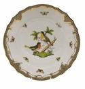 "Herend Rothschild Bird Chocolate Brown Border Dinner Plate - Motif 08 10.5""D"