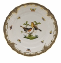 "Herend Rothschild Bird Chocolate Brown Border Dinner Plate - Motif 09 10.5""D"
