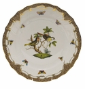 "Herend Rothschild Bird Chocolate Brown Border Dinner Plate - Motif 11 10.5""D"