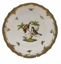 "Herend Rothschild Bird Chocolate Brown Border Dinner Plate - Motif 12 10.5""D"