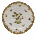 "Herend Rothschild Bird Chocolate Brown Border Salad Plate - Motif 01 7.5""D"