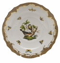 "Herend Rothschild Bird Chocolate Brown Border Salad Plate - Motif 02 7.5""D"