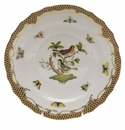 "Herend Rothschild Bird Chocolate Brown Border Salad Plate - Motif 03 7.5""D"