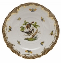 "Herend Rothschild Bird Chocolate Brown Border Salad Plate - Motif 04 7.5""D"
