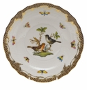 "Herend Rothschild Bird Chocolate Brown Border Salad Plate - Motif 05 7.5""D"
