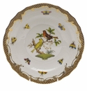 "Herend Rothschild Bird Chocolate Brown Border Salad Plate - Motif 06 7.5""D"