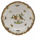 "Herend Rothschild Bird Chocolate Brown Border Salad Plate - Motif 07 7.5""D"