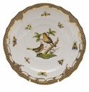 "Herend Rothschild Bird Chocolate Brown Border Salad Plate - Motif 08 7.5""D"