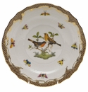 "Herend Rothschild Bird Chocolate Brown Border Salad Plate - Motif 09 7.5""D"