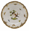 "Herend Rothschild Bird Chocolate Brown Border Salad Plate - Motif 10 7.5""D"