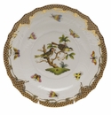 "Herend Rothschild Bird Chocolate Brown Border Salad Plate - Motif 11 7.5""D"