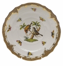 "Herend Rothschild Bird Chocolate Brown Border Salad Plate - Motif 12 7.5""D"