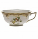 Herend Rothschild Bird Chocolate Brown Border Tea Cup - Motif 06 (8 Oz)