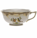Herend Rothschild Bird Chocolate Brown Border Tea Cup - Motif 07 (8 Oz)