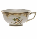 Herend Rothschild Bird Chocolate Brown Border Tea Cup - Motif 08 (8 Oz)