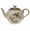 "Herend Rothschild Bird Chocolate Brown Border Tea Pot With Bird (36 Oz) 5.5""H"