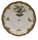 "Herend Rothschild Bird Chocolate Brown Border Tea Saucer - Motif 01 6""D"