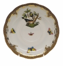 "Herend Rothschild Bird Chocolate Brown Border Tea Saucer - Motif 02 6""D"