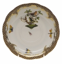 "Herend Rothschild Bird Chocolate Brown Border Tea Saucer - Motif 03 6""D"