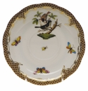 "Herend Rothschild Bird Chocolate Brown Border Tea Saucer - Motif 04 6""D"
