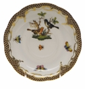 "Herend Rothschild Bird Chocolate Brown Border Tea Saucer - Motif 05 6""D"