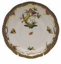 "Herend Rothschild Bird Chocolate Brown Border Tea Saucer - Motif 06 6""D"