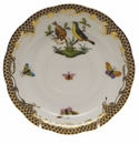"Herend Rothschild Bird Chocolate Brown Border Tea Saucer - Motif 07 6""D"